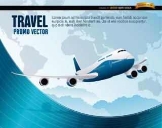 World Travel Plane Wavy Background Vector Image