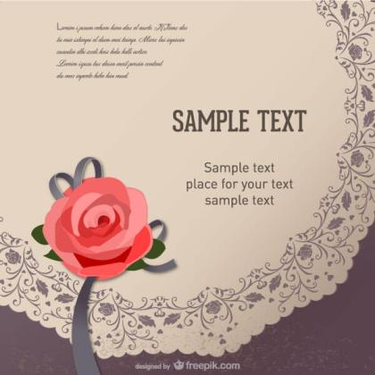 Retro Rose Flower Greeting Card Vector