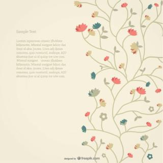 Vector Retro Style Floral Card Background