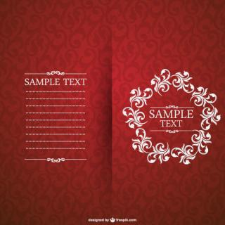 Vector Red Floral Invitation Card Template
