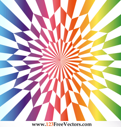 Vector Star Optical Illusion Rainbow Color