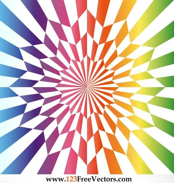Vector Star Optical Illusion Rainbow Color