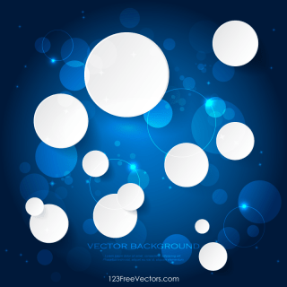 Abstract White Paper Circles on Blue Background Illustrator Eps