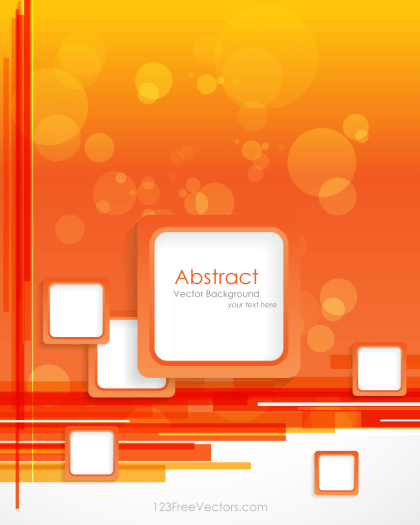 Orange Background with Square Design Vector Template
