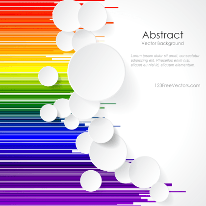 White Paper Circles on Rainbow Geometric Lines Background Design