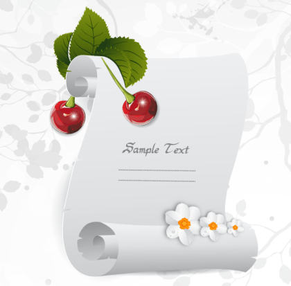Christmas Greeting Parchment Scroll with Holly Berries Free Vector