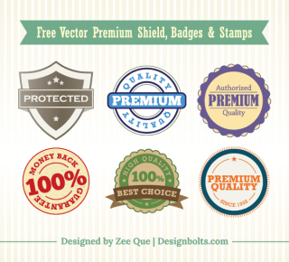 Free Vector Premium Shield, Badges & Stamps