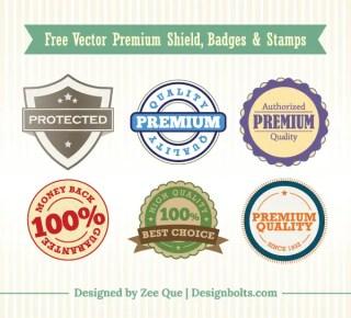Free Vector Premium Shield, Badges & Stamps