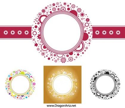 Flower Circle Frame Vector Free