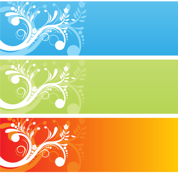 Color Flower Banners Vector Free