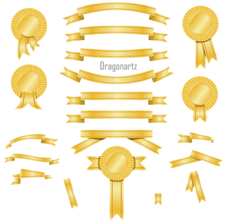 Golden Banners and Award Ribbons Free Vector