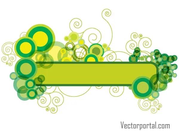Green Abstract Floral Banner Design Vector