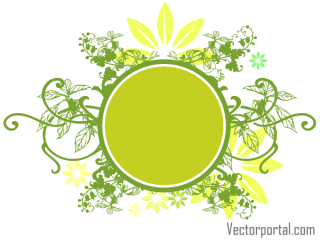 Vector Green Floral Circle Banner Design