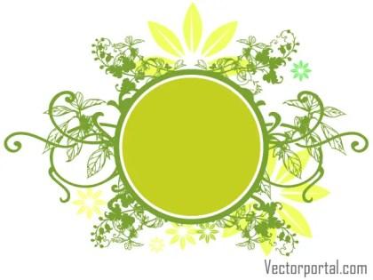 Vector Green Floral Circle Banner Design