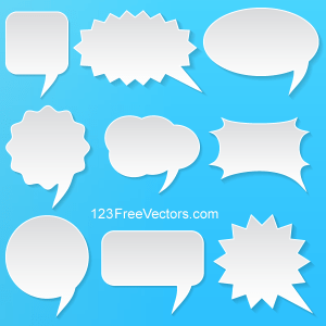 Abstract Vector White Speech Bubbles Set on Blue Background