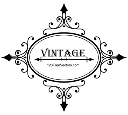 Decorative Oval Vintage Frame Vector Graphics