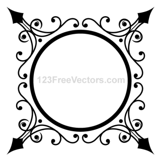 Circle Ornate Frame Vector Graphics