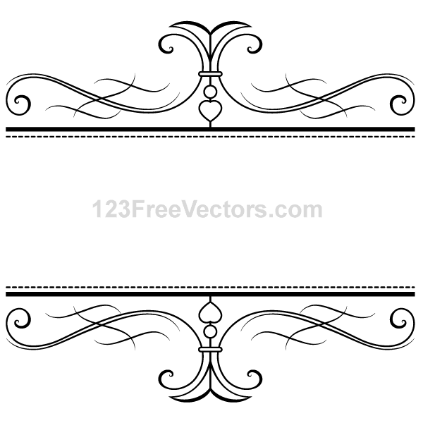Calligraphic Swirly Scroll Frame and Border Vector