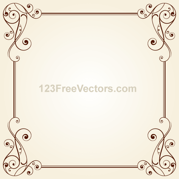 Vintage Ornate Frame Border Design Vector