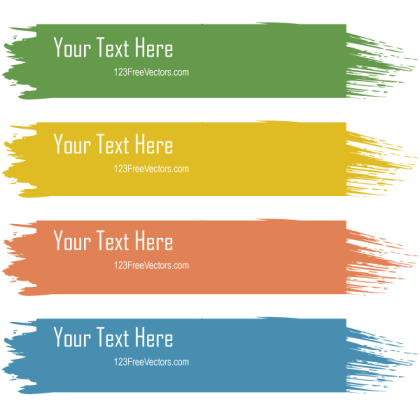 Retro Grunge Colorful Text Banners Vector