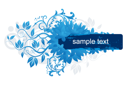 Blue Floral Banner Vector Art