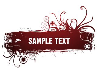 Red Floral Text Banner Vector Graphics