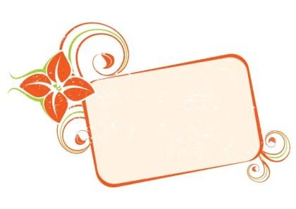 Orange Floral Frame Vector Image