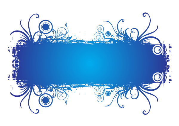 Abstract Blue Floral Banner Vector Space for Your Text