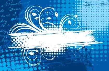 Grunge Floral Banner with Halftone Blue Background Illustrator