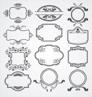 Vintage Floral Ornament Label Vector Pack