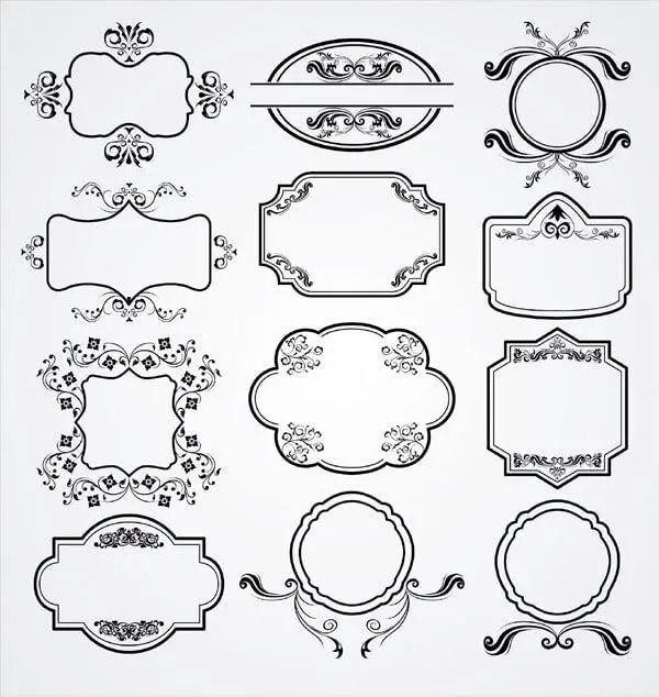 Vintage Floral Ornament Label Vector Pack