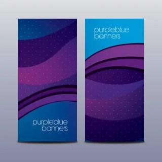Purple Blue Banners Vector Set