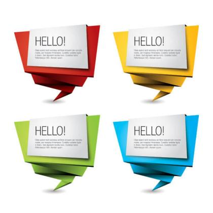 Colorful Origami Paper Banners Vector Illustrator