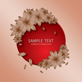 Red Circle Banner with Flowers Vector Image