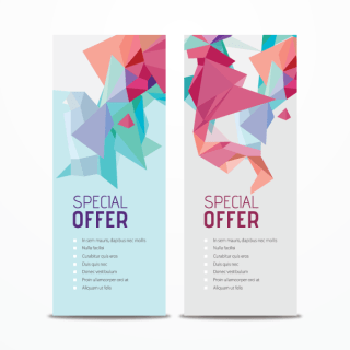 Vertical Promotional Banners with Abstract Triangle Shapes Vector