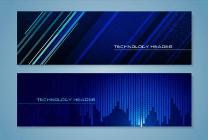 Blue Technology Website Headers Vector Illustration
