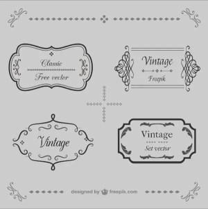 Retro Calligraphic Frames Vector