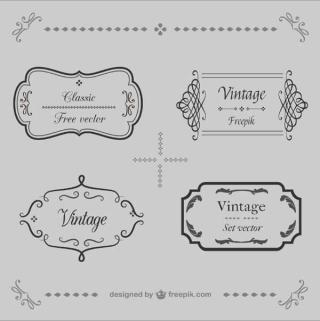 Retro Calligraphic Frames Vector