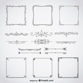 Calligraphic Frames with Decorative Floral Elements Vector