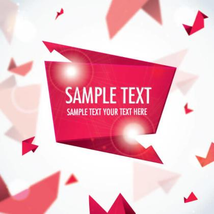 Red Origami Banner Vector Template