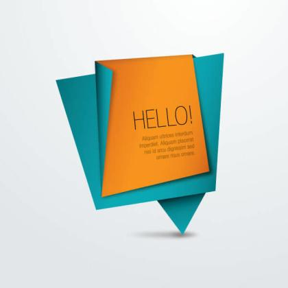 Origami Paper Banner, Place for Your Text Message
