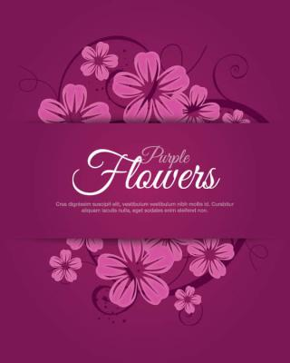 Purple Flower Banner Vector Clip Art
