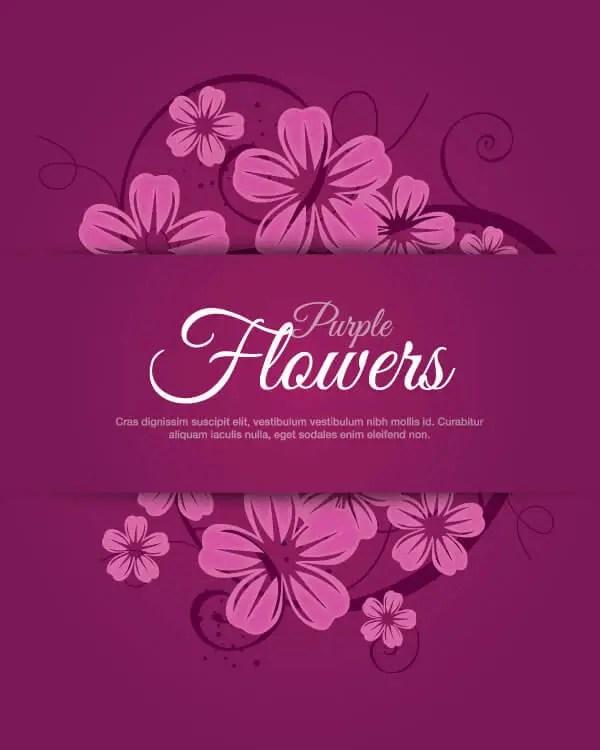 Purple Flower Banner Vector Clip Art