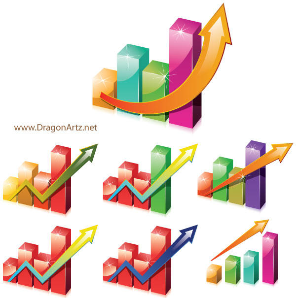 Charts Clipart with Arrow Vector