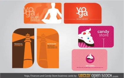 Yoga, Finances and Candy Store Business Card Design
