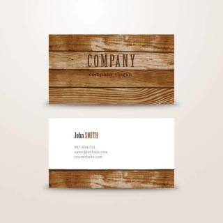 Wooden Background Business Card Vector Template