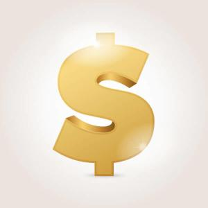 Golden Dollar Sign Vector Illustration