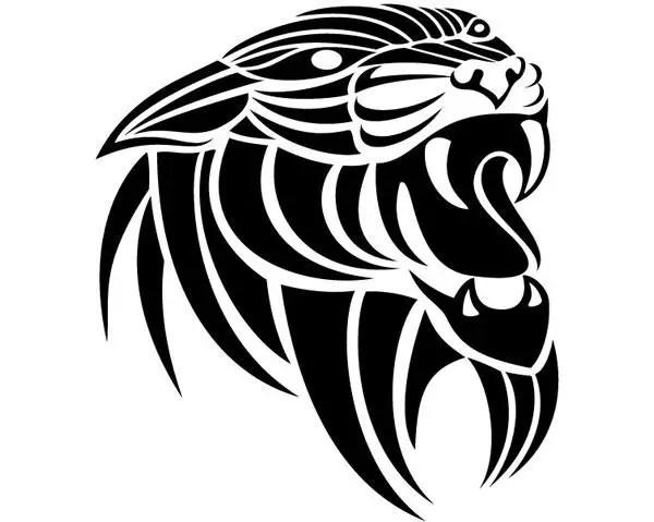 Vector Line Art Animals : Panthera tribal vector freevectors