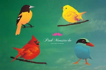 Free Vector Set: Cute Birds Vector Illustration