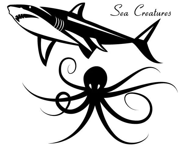 Sea Creatures Vector – Shark & Octopus